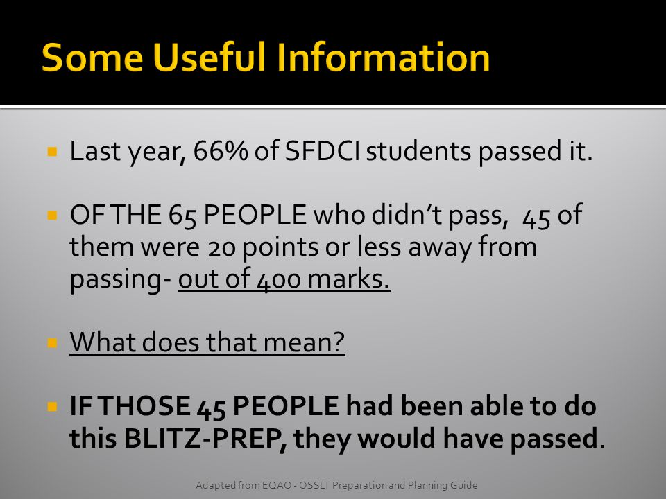  Last year, 66% of SFDCI students passed it.