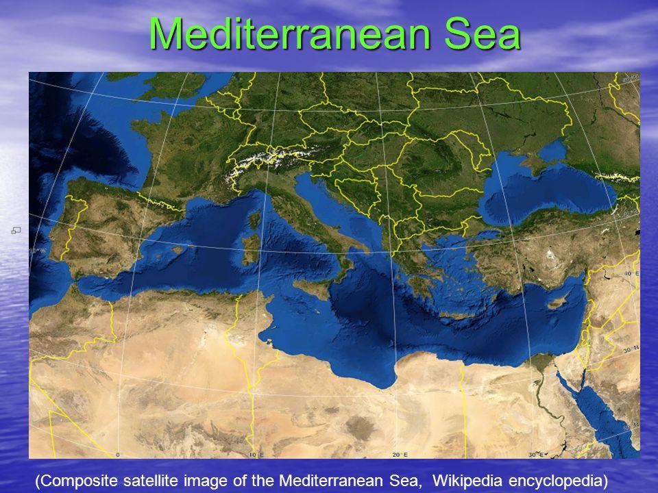 Mediterranean Sea (Composite satellite image of the Mediterranean Sea, Wikipedia encyclopedia)