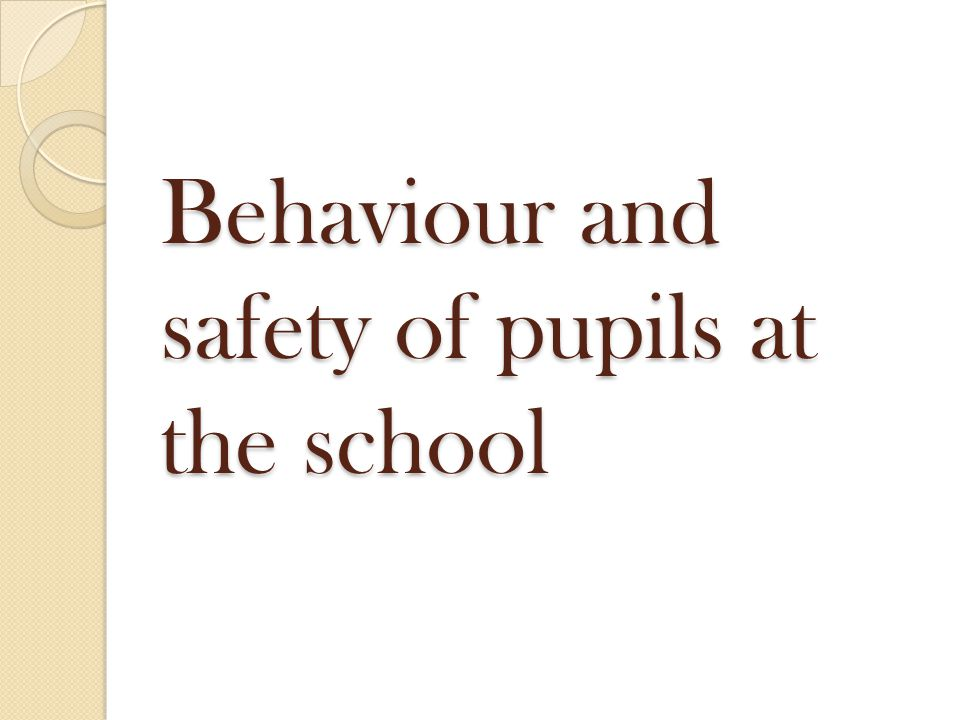 Behaviour and safety of pupils at the school