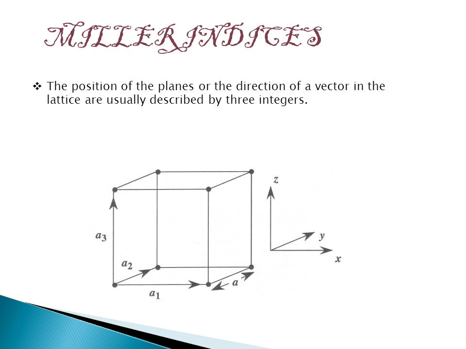 MILLER INDICES  The position of the planes or the direction of a vector in the lattice are usually described by three integers.