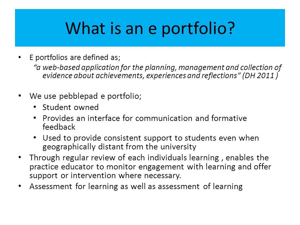 What is an e portfolio.
