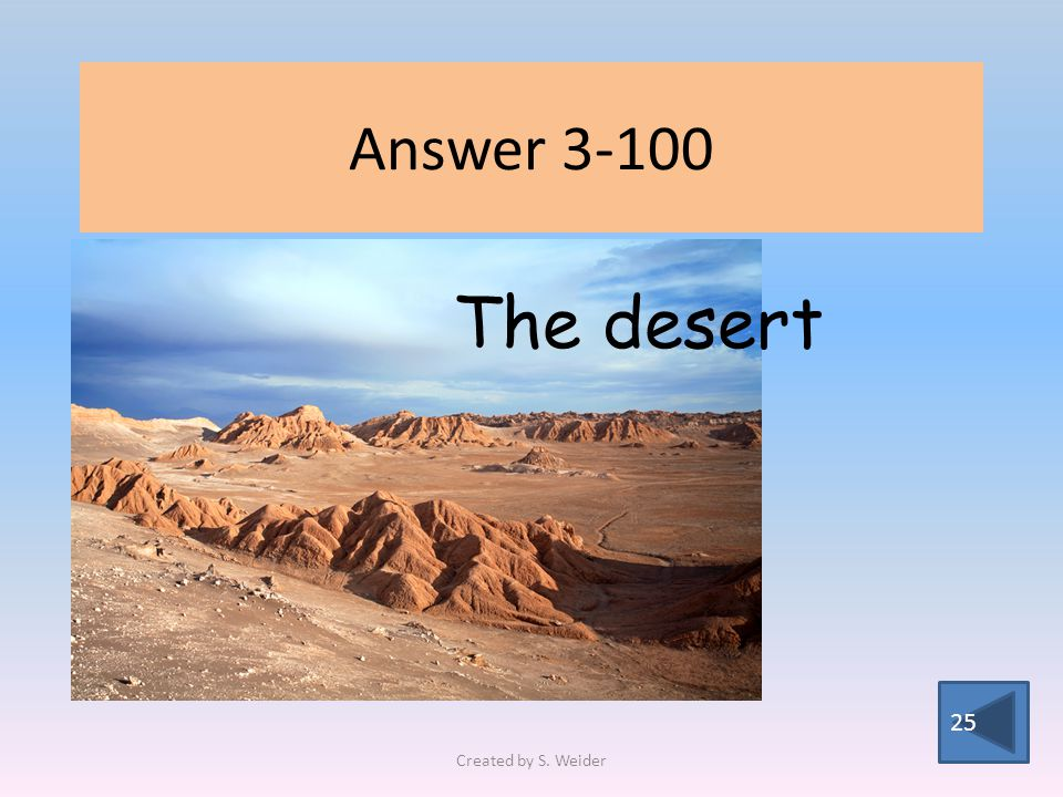Answer The desert Created by S. Weider