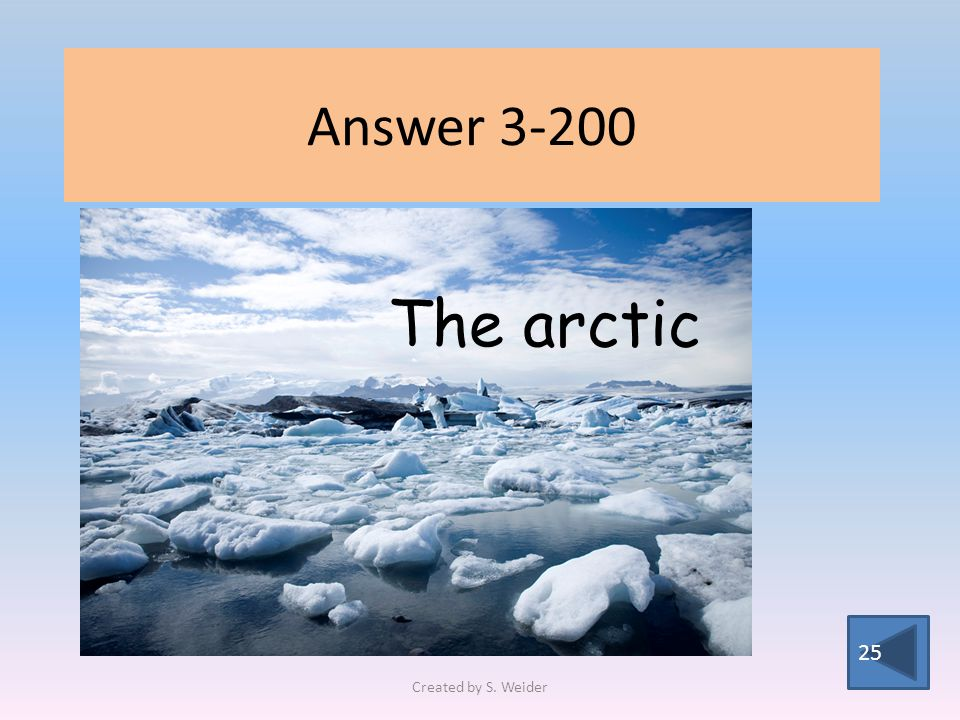 Answer 3-200 25 The arctic Created by S. Weider