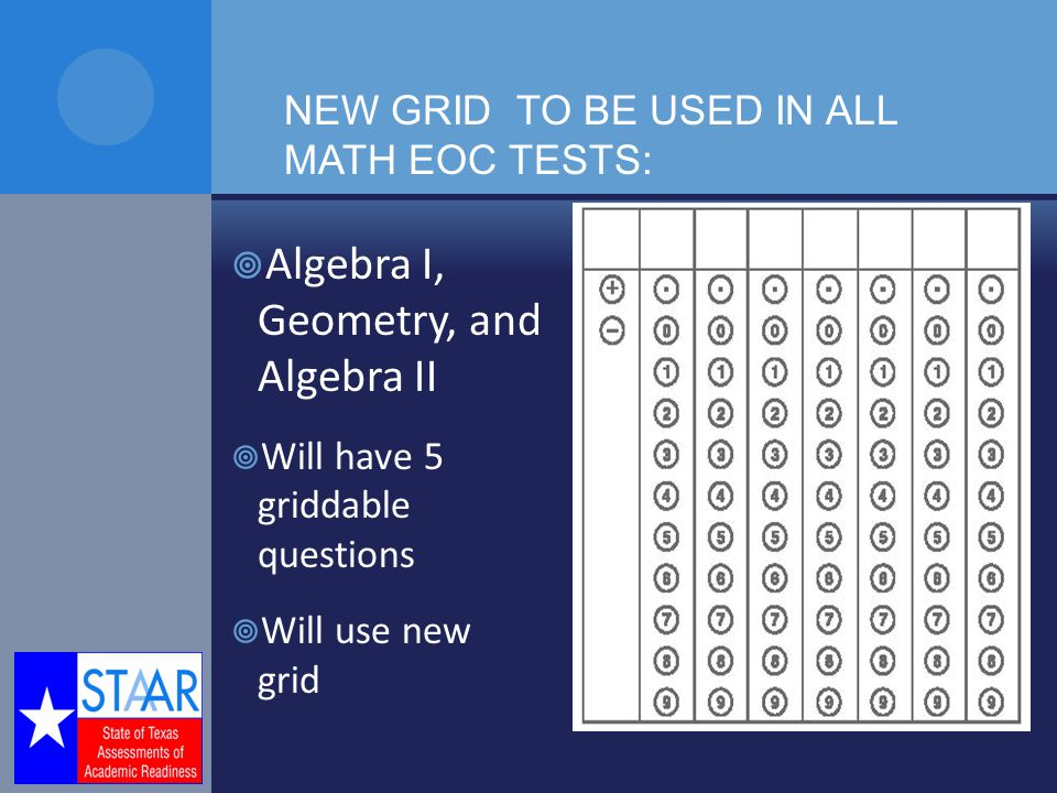  Algebra I, Geometry, and Algebra II  Will have 5 griddable questions  Will use new grid NEW GRID TO BE USED IN ALL MATH EOC TESTS: