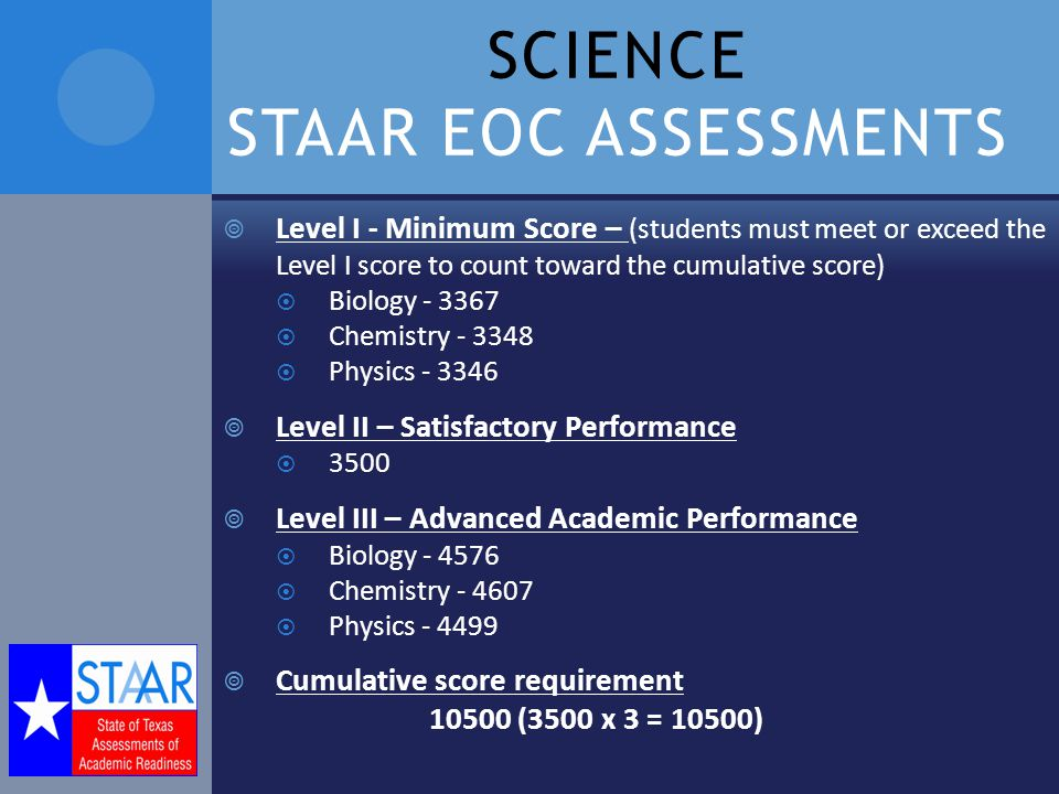 SCIENCE STAAR EOC ASSESSMENTS  Level I - Minimum Score – (students must meet or exceed the Level I score to count toward the cumulative score)  Biology  Chemistry  Physics  Level II – Satisfactory Performance  3500  Level III – Advanced Academic Performance  Biology  Chemistry  Physics  Cumulative score requirement (3500 x 3 = 10500)