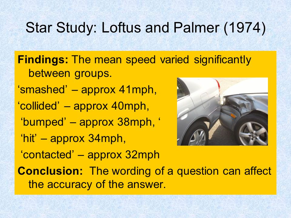 Star Study: Loftus and Palmer (1974) Findings: The mean speed varied significantly between groups.