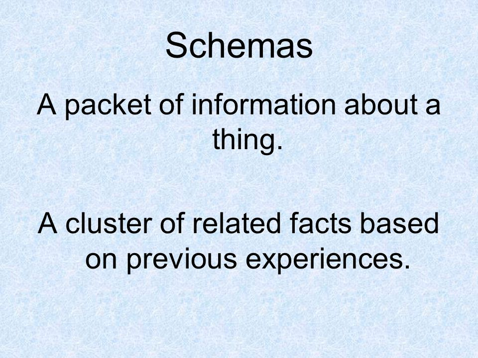 Why do we need schemas.They help us to understand the world and situations.
