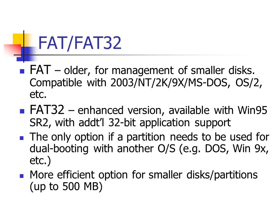 NTFS Native Windows file system.Can only be read by NT, Win2K and Windows 2003/XP OS.