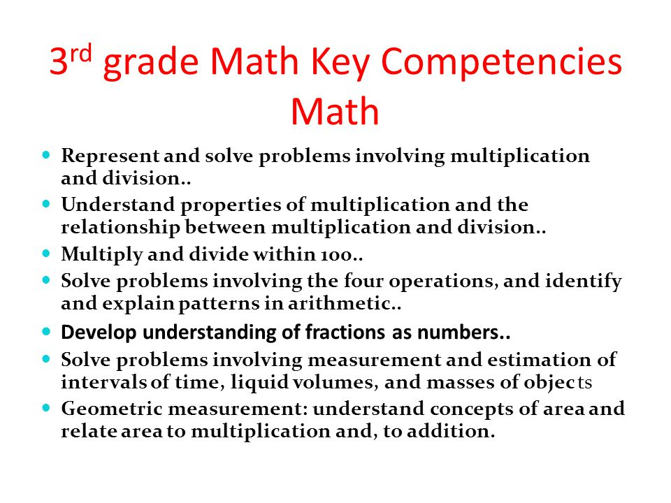 3 rd grade Math Key Competencies Math Represent and solve problems involving multiplication and division.. Understand properties of multiplication and