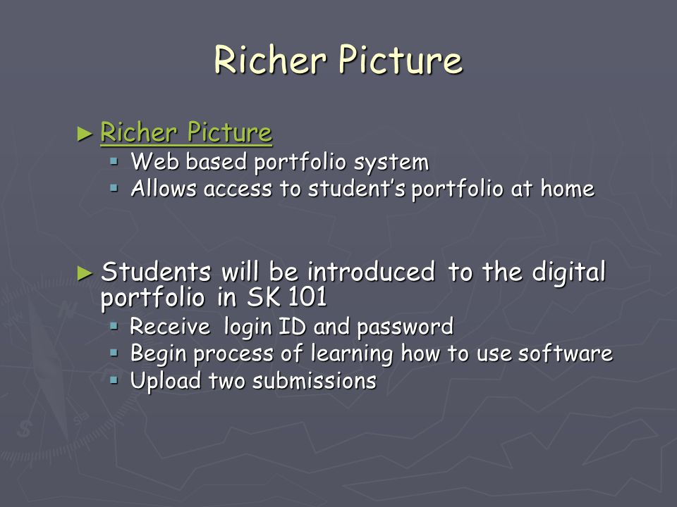 Richer Picture ► Richer Picture Richer Picture Richer Picture  Web based portfolio system  Allows access to student's portfolio at home ► Students will be introduced to the digital portfolio in SK 101  Receive login ID and password  Begin process of learning how to use software  Upload two submissions