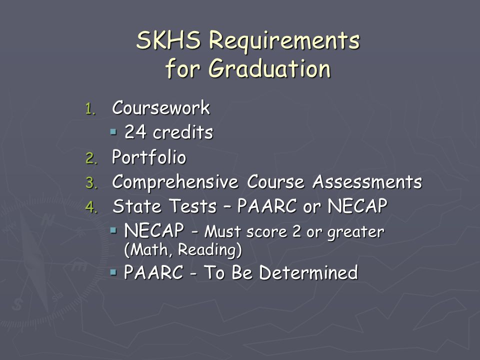 SKHS Requirements for Graduation 1.Coursework  24 credits 2.