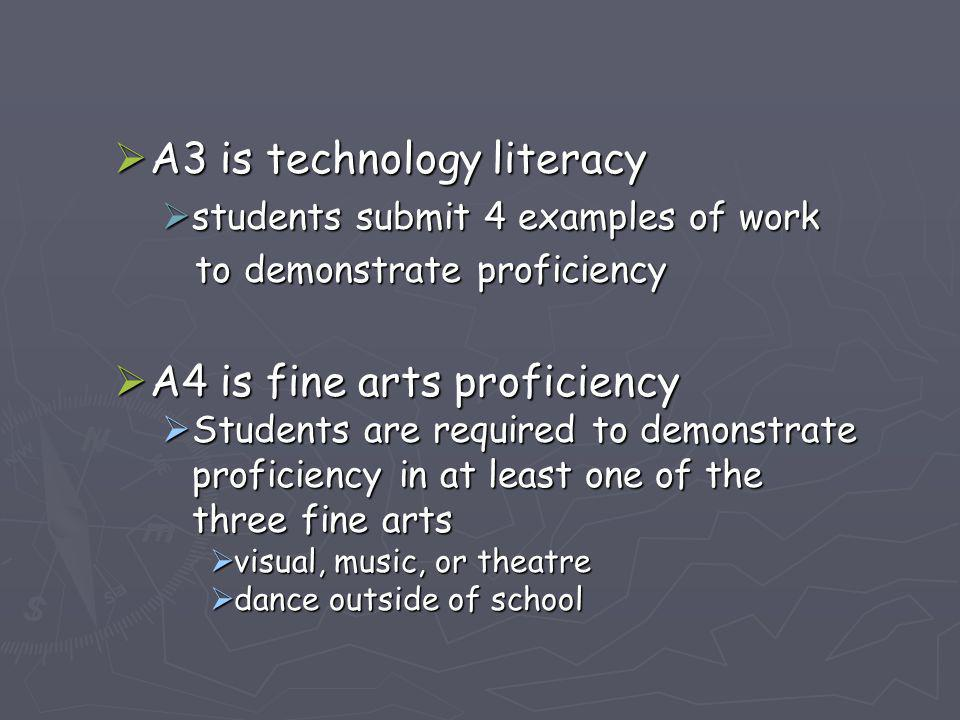  A3 is technology literacy  students submit 4 examples of work to demonstrate proficiency to demonstrate proficiency  A4 is fine arts proficiency 
