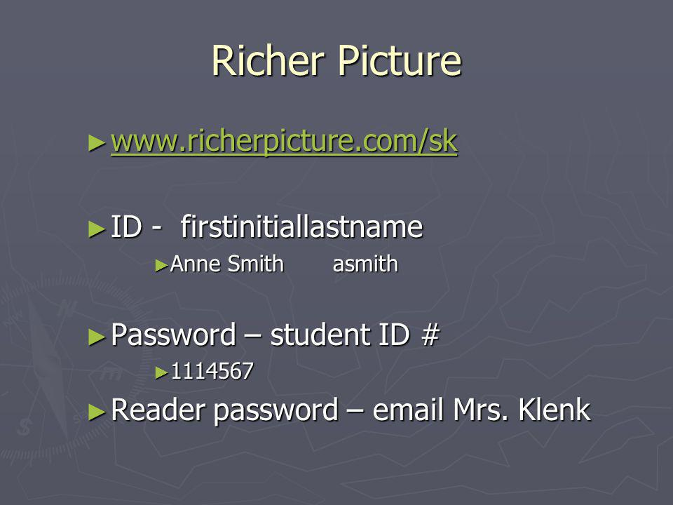 Richer Picture ► www.richerpicture.com/sk www.richerpicture.com/sk ► ID - firstinitiallastname ► Anne Smith asmith ► Password – student ID # ► 1114567