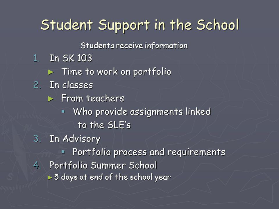 Student Support in the School Students receive information 1.In SK 103 ► Time to work on portfolio 2.In classes ► From teachers  Who provide assignme