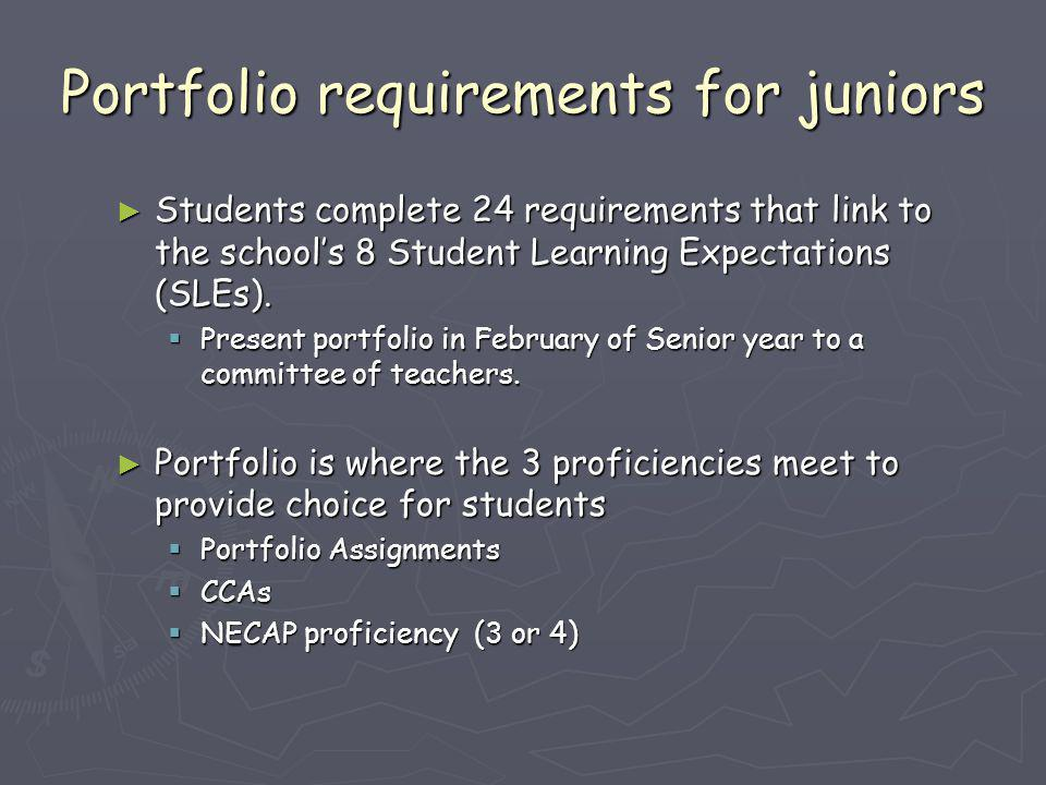 Portfolio requirements for juniors ► Students complete 24 requirements that link to the school's 8 Student Learning Expectations (SLEs).  Present por