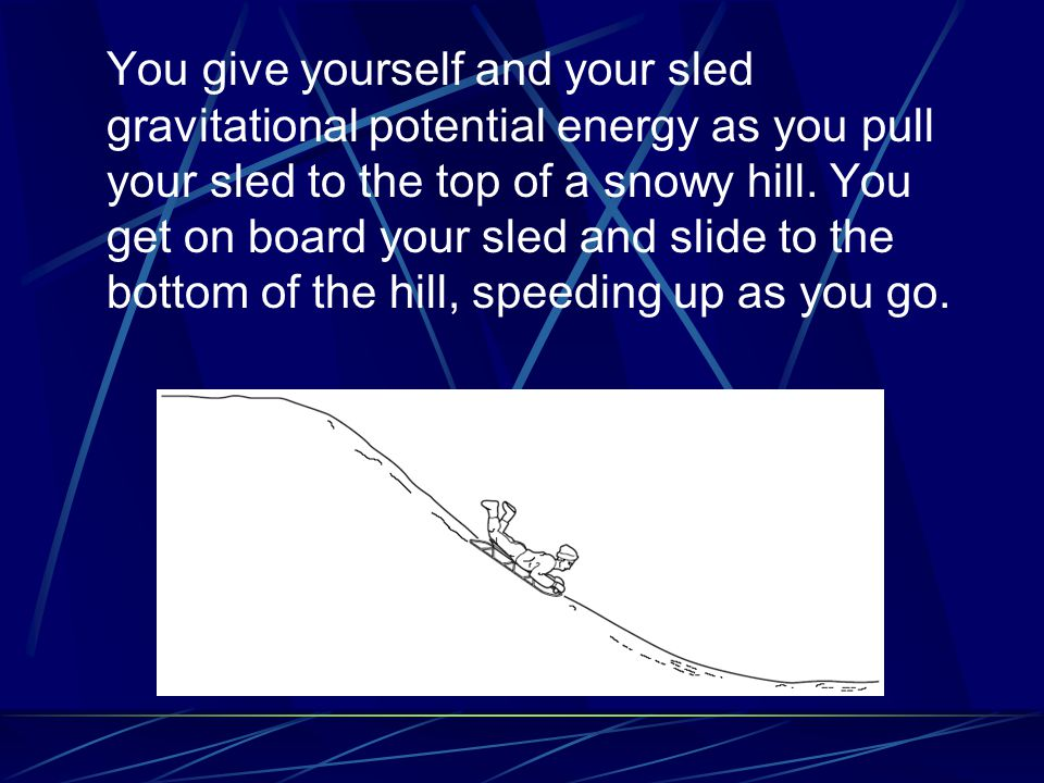 You give yourself and your sled gravitational potential energy as you pull your sled to the top of a snowy hill.
