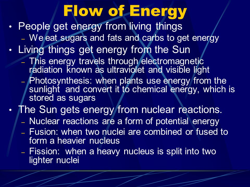 Flow of Energy People get energy from living things – We eat sugars and fats and carbs to get energy Living things get energy from the Sun – This energy travels through electromagnetic radiation known as ultraviolet and visible light – Photosynthesis: when plants use energy from the sunlight and convert it to chemical energy, which is stored as sugars The Sun gets energy from nuclear reactions.