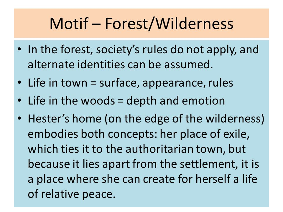 Motif – Forest/Wilderness In the forest, society's rules do not apply, and alternate identities can be assumed.