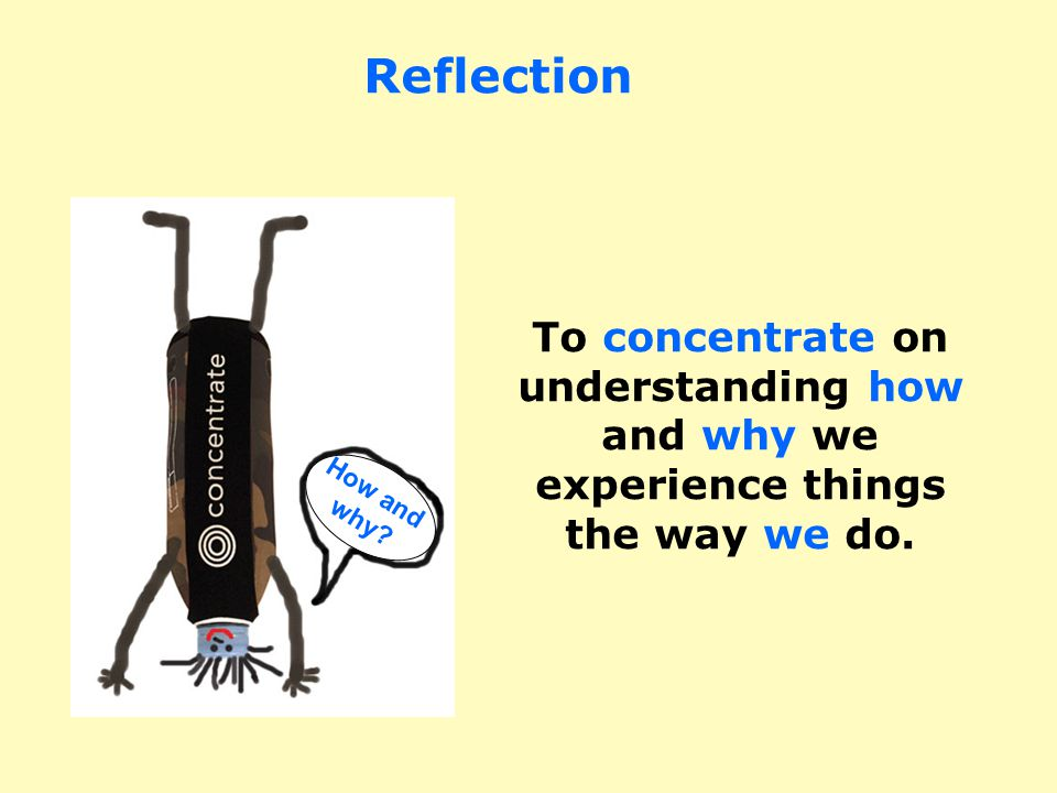 To concentrate on understanding how and why we experience things the way we do.