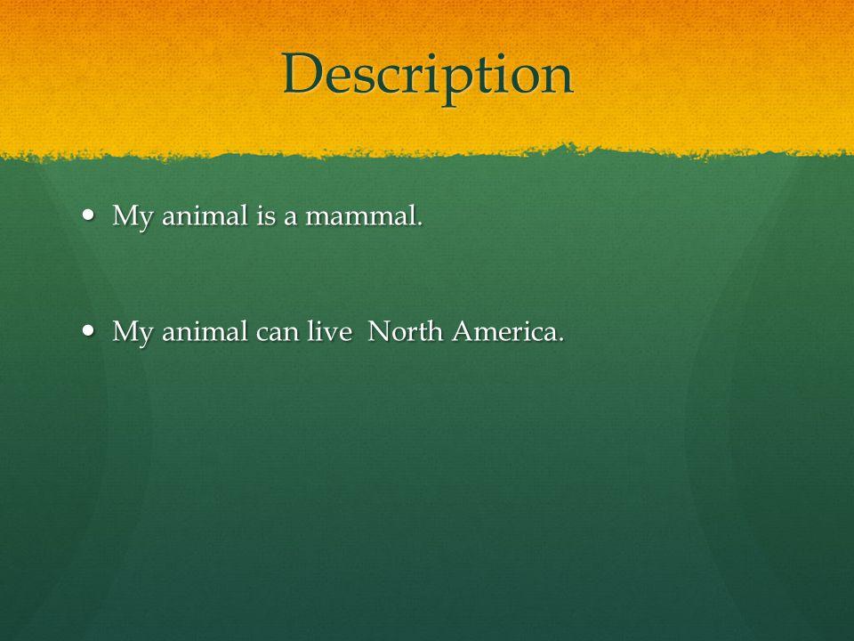Description My animal is a mammal.My animal is a mammal.