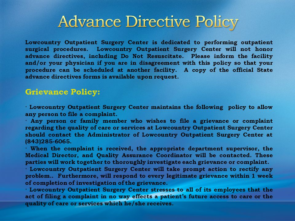 Lowcountry Outpatient Surgery Center is dedicated to performing outpatient surgical procedures.