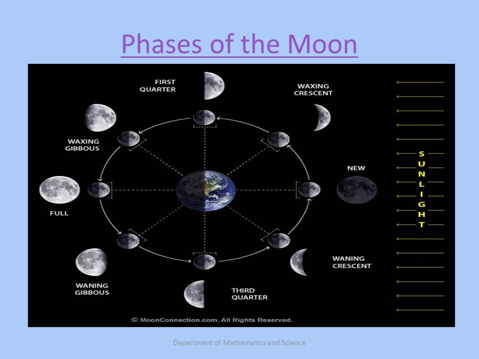 Phases of the Moon Department of Mathematics and Science
