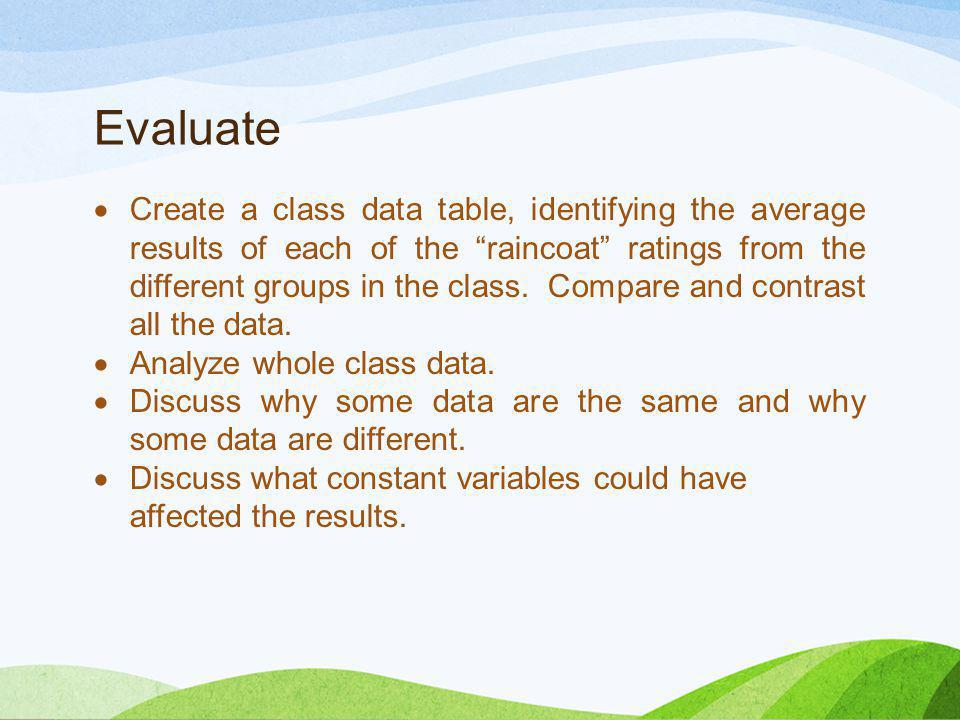 "Evaluate  Create a class data table, identifying the average results of each of the ""raincoat"" ratings from the different groups in the class. Compar"