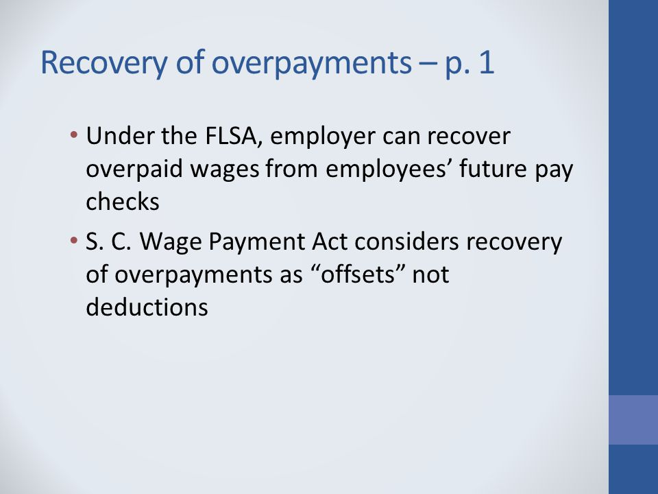 Recovery of overpayments – p.