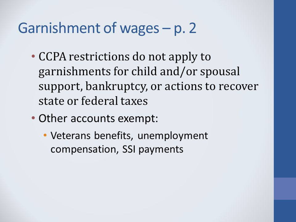 Garnishment of wages – p.