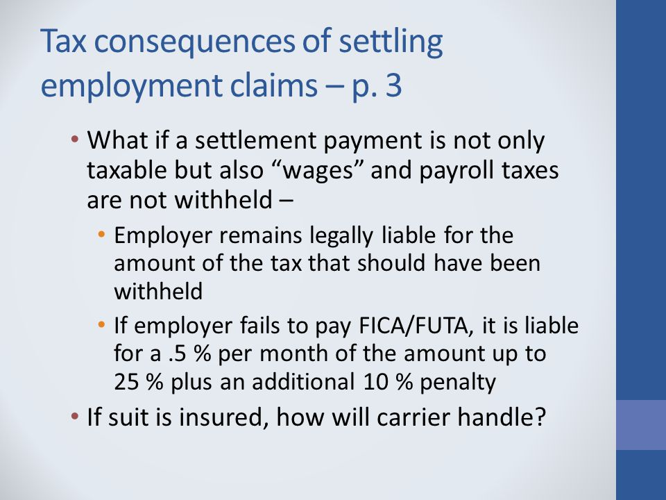 Tax consequences of settling employment claims – p.