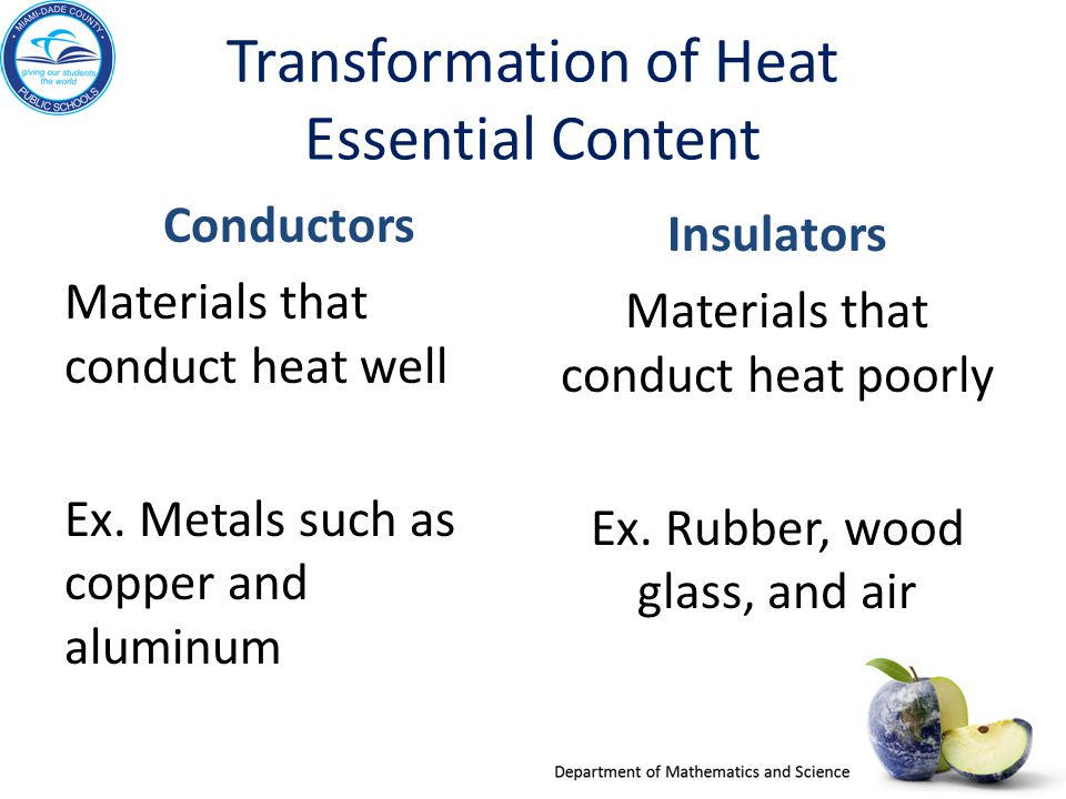 Transformation of Heat Essential Content Conductors Materials that conduct heat well Ex. Metals such as copper and aluminum Insulators Materials that