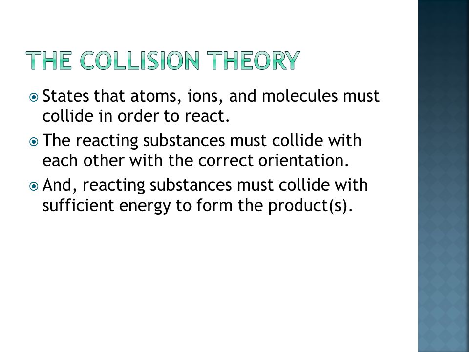  States that atoms, ions, and molecules must collide in order to react.