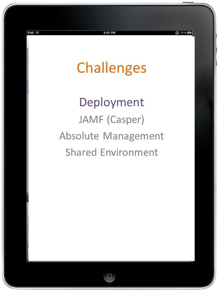 Challenges Deployment JAMF (Casper) Absolute Management Shared Environment