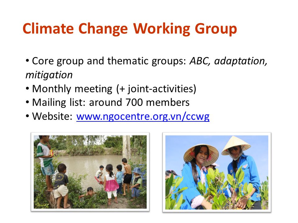 CCWG Structure Core Group Chair: CARE International CARE International, AFAP, CCRD, Challenge to change, Live & Learn, MCD, OXFAM, Plan, RECOFTC, SNV, SRD, WWF, GreenID CCWG thematic groups Mitigation Led by: CCRD, RECOFTC Awareness & Behavior change Led by: Live & Learn, CtC Adaptation Led by: Plan, SNV