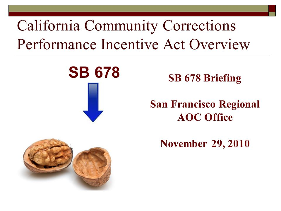 Senate Bill 678  Signed by the Governor on October 11, 2009  Sponsored by Chief Probation Officers of California  Broad political support  No organized opposition  Passed both houses without a single No vote