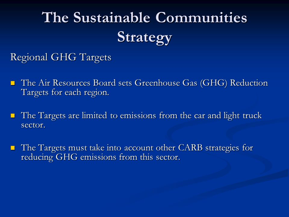 The Sustainable Communities Strategy Regional GHG Targets The Air Resources Board sets Greenhouse Gas (GHG) Reduction Targets for each region.