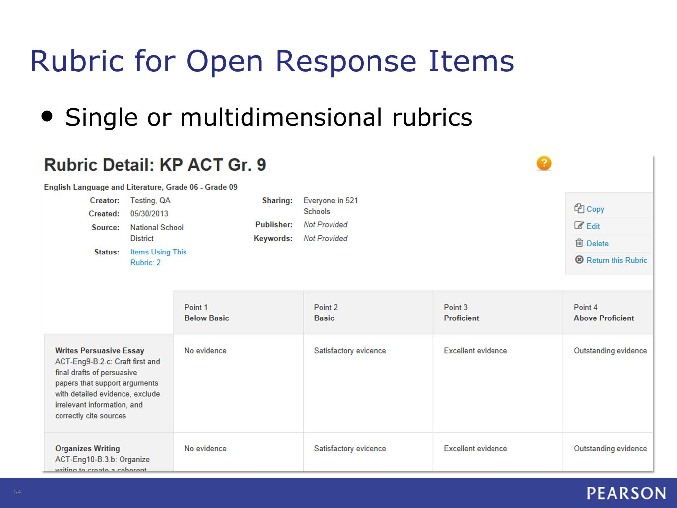 Rubric for Open Response Items Single or multidimensional rubrics 54