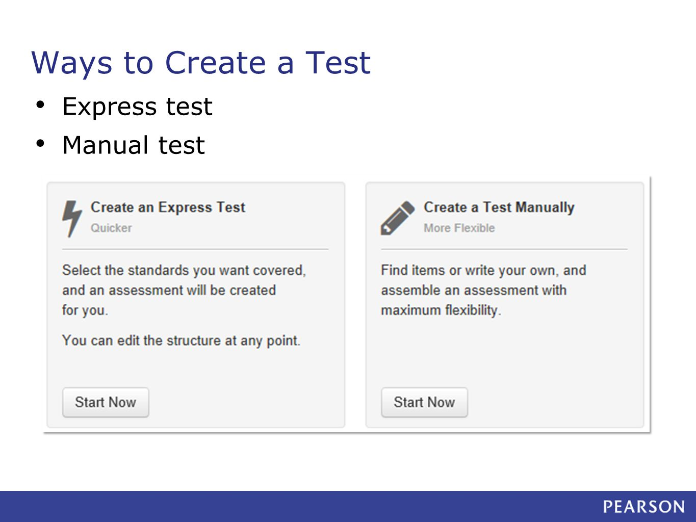 Ways to Create a Test Express test Manual test