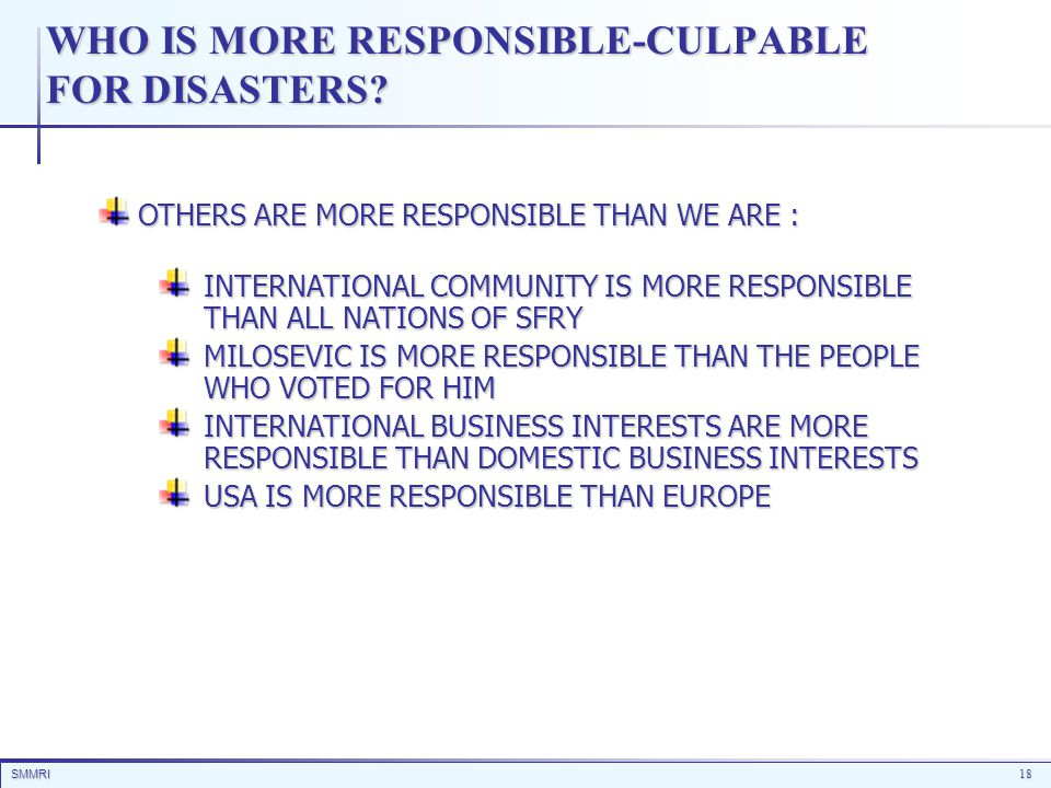 SMMRI18 WHO IS MORE RESPONSIBLE-CULPABLE FOR DISASTERS? OTHERS ARE MORE RESPONSIBLE THAN WE ARE : INTERNATIONAL COMMUNITY IS MORE RESPONSIBLE THAN ALL