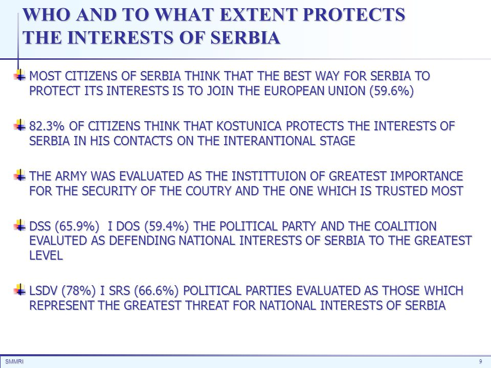 SMMRI9 WHO AND TO WHAT EXTENT PROTECTS THE INTERESTS OF SERBIA MOST CITIZENS OF SERBIA THINK THAT THE BEST WAY FOR SERBIA TO PROTECT ITS INTERESTS IS
