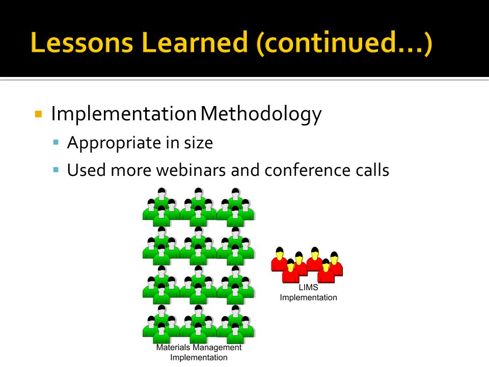  Implementation Methodology  Appropriate in size  Used more webinars and conference calls