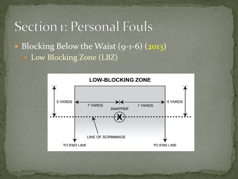 Blocking Below the Waist (9-1-6) (2013) Low Blocking Zone (LBZ)