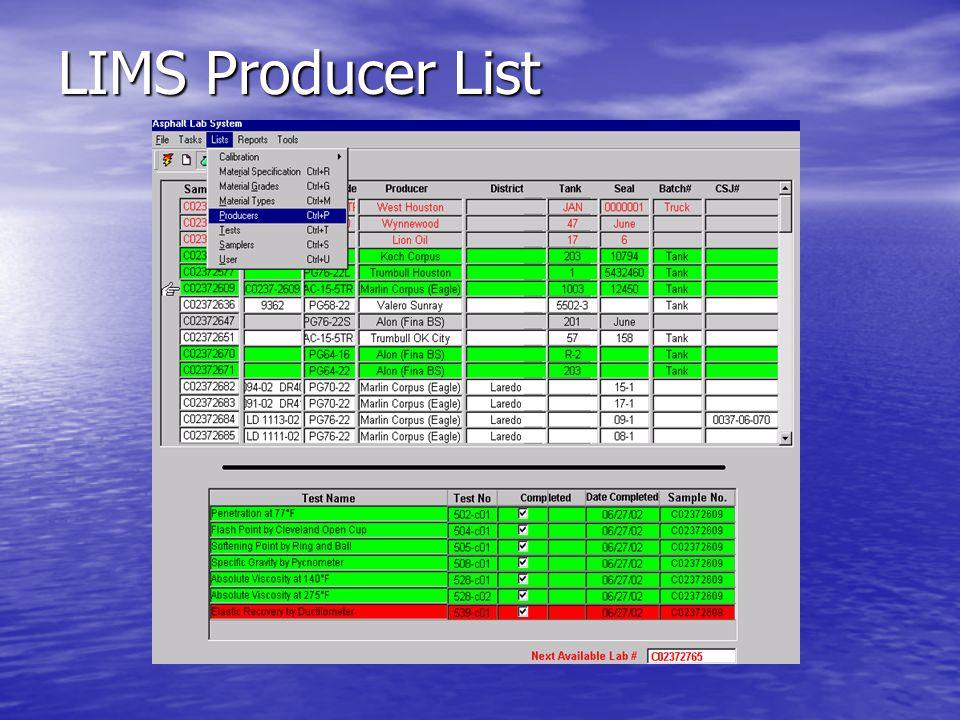LIMS Producer List