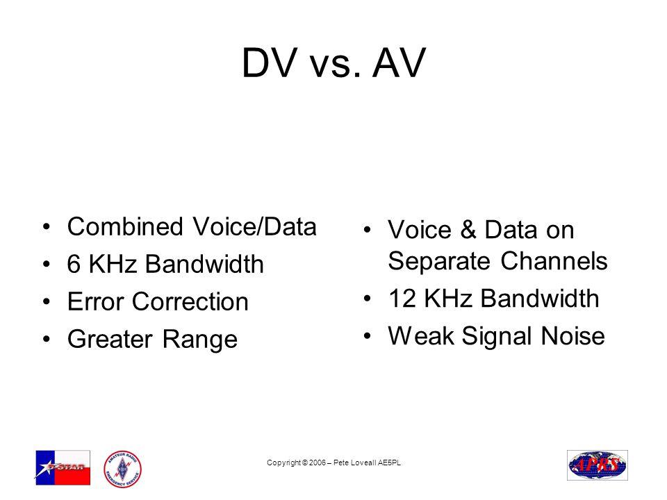 Copyright © 2006 – Pete Loveall AE5PL DV vs. AV Combined Voice/Data 6 KHz Bandwidth Error Correction Greater Range Voice & Data on Separate Channels 1