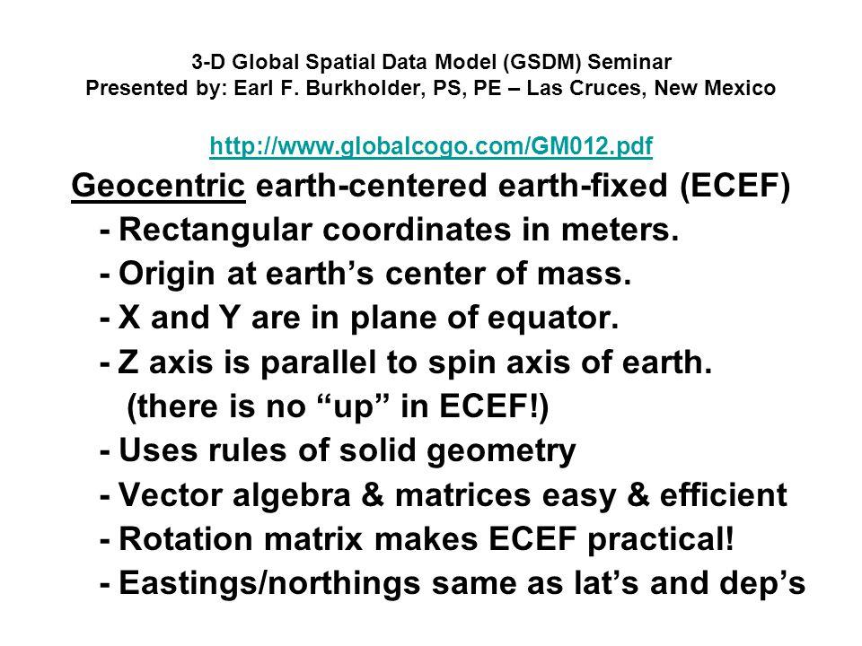 3-D Global Spatial Data Model (GSDM) Seminar Presented by: Earl F. Burkholder, PS, PE – Las Cruces, New Mexico http://www.globalcogo.com/GM012.pdf Geo