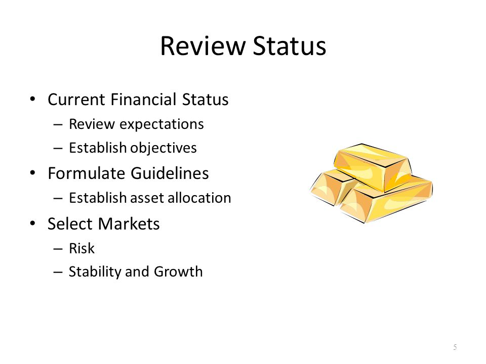 Review Status Current Financial Status – Review expectations – Establish objectives Formulate Guidelines – Establish asset allocation Select Markets – Risk – Stability and Growth 5