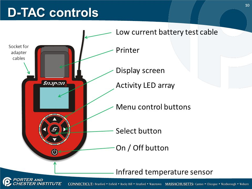 10 D-TAC controls Low current battery test cable Socket for adapter cables Menu control buttons Display screen Select button Activity LED array On / Off button Infrared temperature sensor Printer