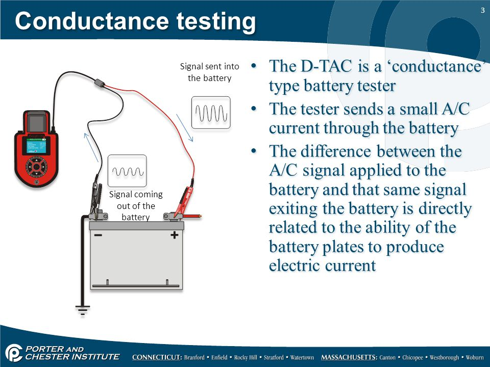 3 Conductance testing The D-TAC is a 'conductance' type battery tester The tester sends a small A/C current through the battery The difference between