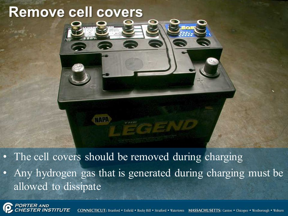 35 Remove cell covers The cell covers should be removed during charging Any hydrogen gas that is generated during charging must be allowed to dissipat