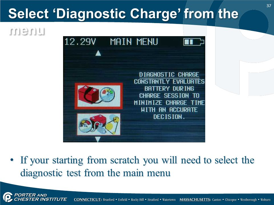 37 Select 'Diagnostic Charge' from the menu If your starting from scratch you will need to select the diagnostic test from the main menu